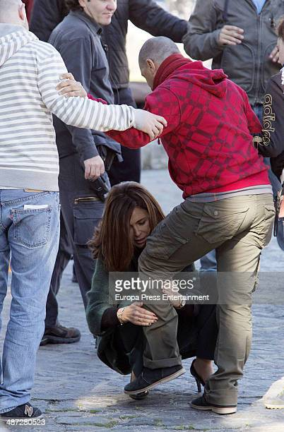 Actress Megan Montaner is seen during the set filming of tv serie 'Sin Identidad' on April 8 2014 in Madrid Spain