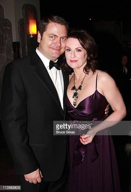 Actress Megan Mullally and husband Nick Offerman pose at the Opening Night Party for 'Young Frankenstein' at the New Broadway Musical by Mel Brooks...