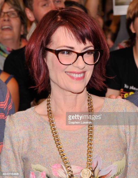 """Actress Megan Mullally attends the """"It's Only A Play"""" first performance at The Schoenfeld Theatre on August 28, 2014 in New York City."""