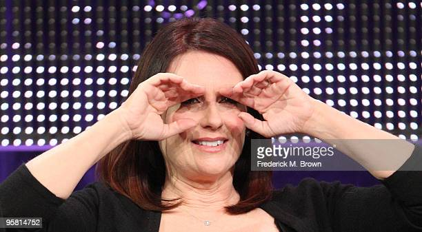 """Actress Megan Mullally of the television show """"Party Down"""" speaks during the Starz Network portion of The 2010 Winter TCA Press Tour at the Langham..."""