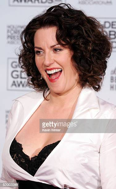Actress Megan Mullally poses in the press room during the 62nd Annual Golden Globe Awards at the Beverly Hilton Hotel January 16 2005 in Beverly...