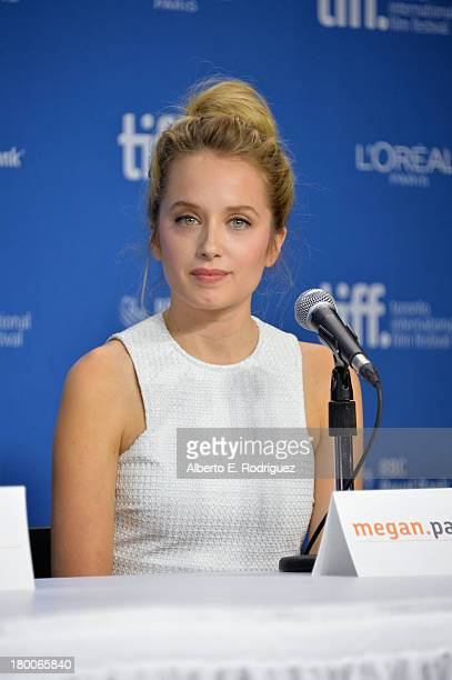 Actress Megan Park speaks onstage at The F Word Press Conference during the 2013 Toronto International Film Festival at TIFF Bell Lightbox on...