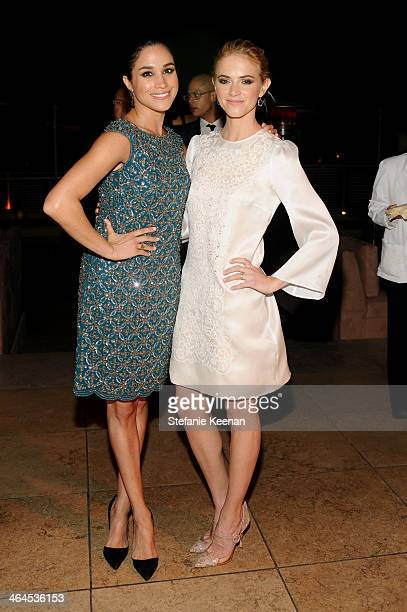 Actress Meghan Markle and actress Emily Wickersham attends ELLE's Annual Women in Television Celebration on January 22 2014 in West Hollywood...