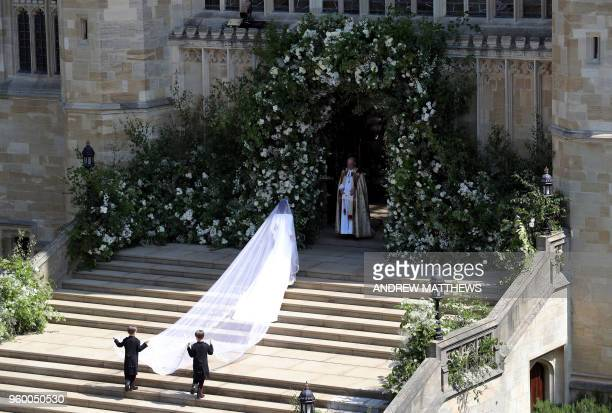 Actress Meghan Markle arrives for the wedding ceremony to marry Britain's Prince Harry, Duke of Sussex, at St George's Chapel, Windsor Castle, in...