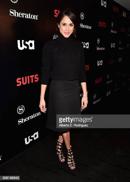 Actress Meghan Markle attends the premiere of USA Network's 'Suits' Season 5 at the Sheraton Los Angeles Downtown Hotel on January 21 2016 in Los...