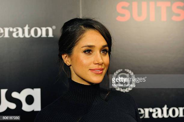 Actress Meghan Markle attrends the premiere of USA Network's 'Suits' Season Five at Sheraton Los Angeles Downtown Hotel on January 21 2016 in Los...