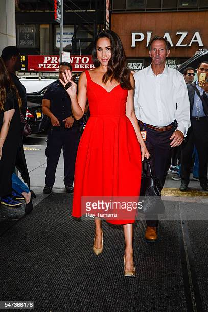 Actress Meghan Markle enters the Today Show taping at NBC Rockefeller Center Studios on July 14 2016 in New York City