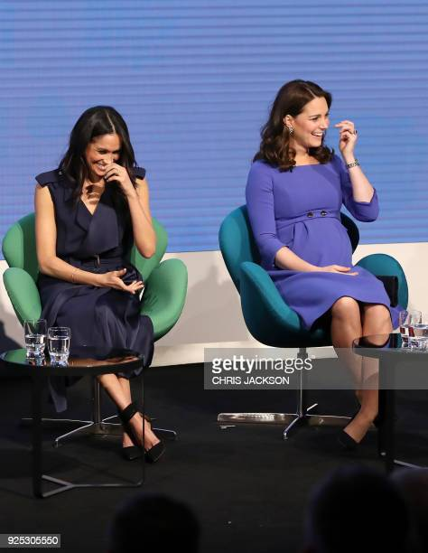 US actress Meghan Markle fiancee to Britains Prince Harry and Britain's Catherine Duchess of Cambridge attend the first annual Royal Foundation Forum...