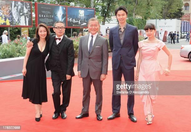 Actress Megumi Kagurazaka Director Sion Sono Actors Jun Kunimura Hiroki Hasegawa and Fumi Nikaido attend 'Why Don't You Play In Hell' Premiere during...