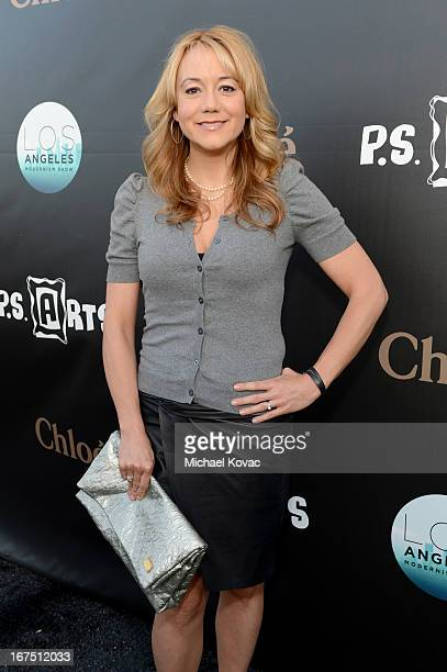 Actress Megyn Price attends PS ARTS Presents LA Modernism Show Opening Night at The Barker Hanger on April 25 2013 in Santa Monica California