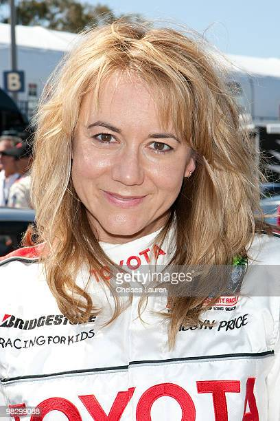 Actress Megyn Price attends the Toyota Pro Celebrity Race press day on April 6 2010 in Long Beach California