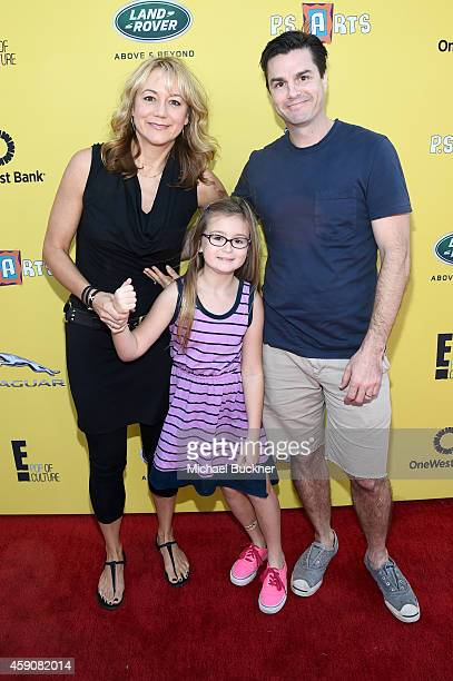 Actress Megyn Price, Grace Price and Dr. Edward Cotner attend P.S. ARTS presents Express Yourself 2014 with sponsors OneWest Bank and Jaguar Land...