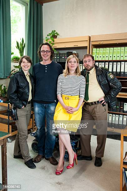 Actress Meike Droste director Christoph Schnee actress Caroline Peters and actor Bjarne Maedel pose during 'Mord Mit Aussicht' Set Visit on May 09...