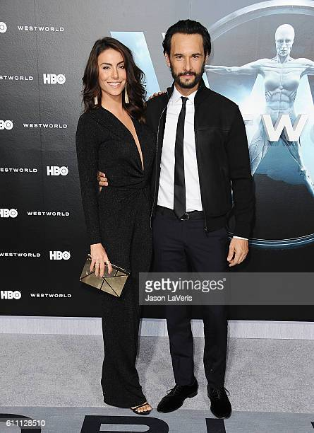 Actress Mel Fronckowiak and actor Rodrigo Santoro attend the premiere of 'Westworld' at TCL Chinese Theatre on September 28 2016 in Hollywood...