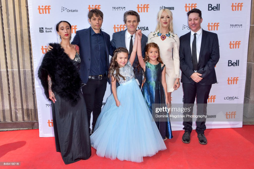 Actress Mela Murder, filmmaker Sean Baker, actor Willem Dafoe, child actresses Brooklynn Prince and Valeria Cotto, actress Bria Vinaite and co-writer Chris Bergoch attend the 'The Florida Project' premiere at the Ryerson Theatre on September 10, 2017 in Toronto, Canada.