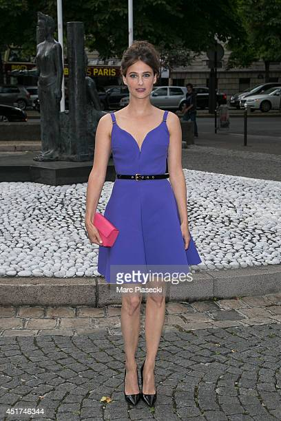 Actress Melanie Bernier arrives to attend the Miu Miu Resort Collection Presentation on July 5 2014 in Paris France