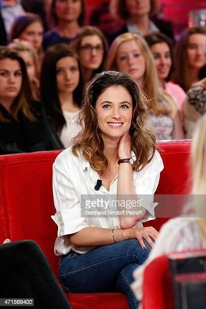 Actress Melanie Bernier attends the 'Vivement Dimanche' French TV at Pavillon Gabriel on April 29 2015 in Paris France