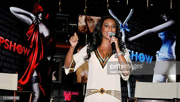 Actress Melanie Brown speaks during a news conference announcing the new production Peepshow at Planet Hollywood Resort Casino November 18 2008 in...