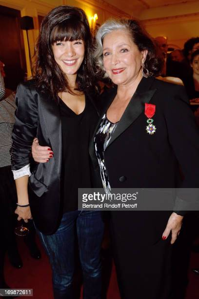 Actress Melanie Doutey and Francoise Fabian attend the delivery of the medal of the Legion of Honor to actress Francoise Fabian at Theatre Edouard...