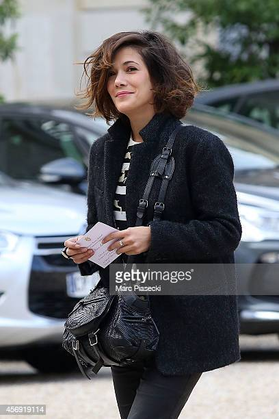 Actress Melanie Doutey arrives to attend the Gilles Jacob decoration ceremony at Elysee Palace on October 9 2014 in Paris France