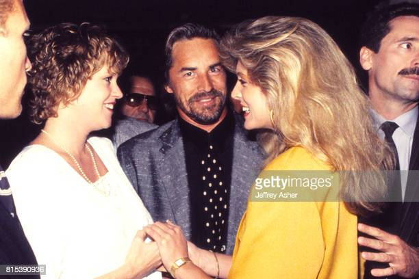 Actress Melanie Griffith Actor and TV Star Don Johnson and Marla Maples at party at Trump Castle Casino Hotel in Atlantic City New Jersey October 14...