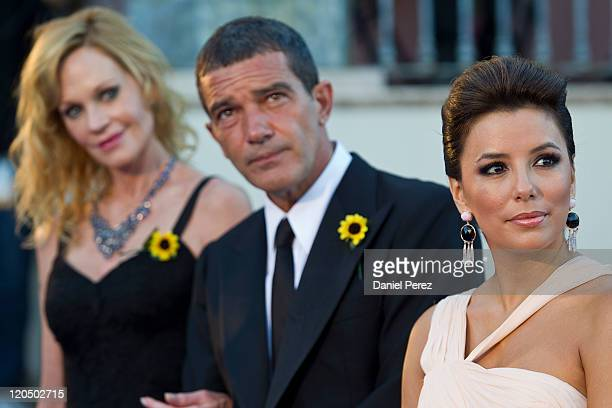 Actress Melanie Griffith actor Antonio Banderas and actress Eva Longoria arrive for the Starlite Charity Gala at the Villa Padierna hotel on August 6...