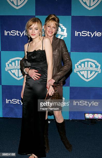 Actress Melanie Griffith and daughter Dakota Johnson attend the Warner Bros/InStyle Golden Globe after party held at the Oasis at the Beverly Hilton...