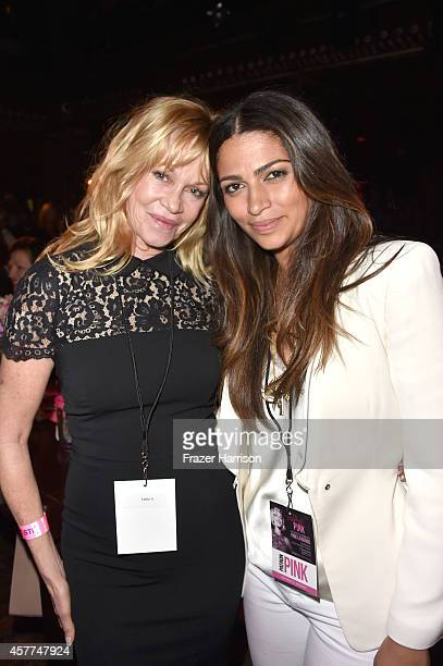 Actress Melanie Griffith and model Camila Alves attend Power of Pink 2014 Benefiting the Cancer Prevention Program at Saint John's Health Center at...