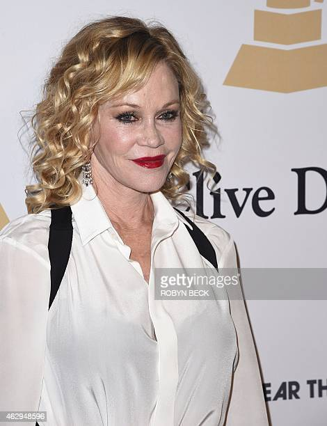 Actress Melanie Griffith arrives for the Clive Davis The Recording Academy's 2015 PreGrammy Gala in Beverly Hills California February 7 2015 AFP...