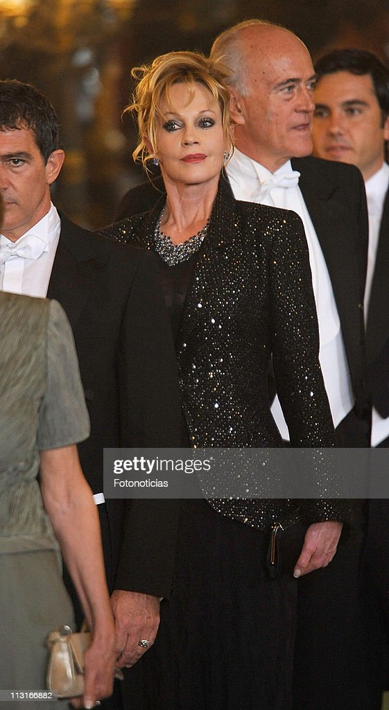 Actress Melanie Griffith attends the Gala Dinner in honour of the Emir of the State of Qatar and Sheikha Mozah Bint Nasser at The Royal Palace on April 25, 2011 in Madrid, Spain.