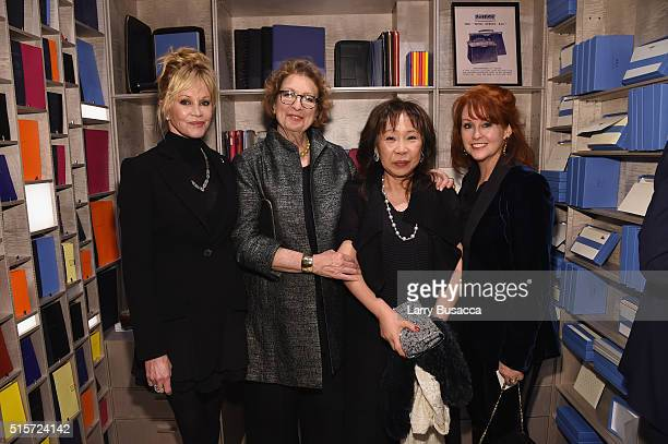 Actress Melanie Griffith Daryl Griffith Lim Siew Lian and Tracy Griffith attend Smythson's Madison Avenue Grand Opening Event on March 14 2016 in New...