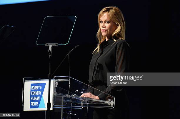Actress Melanie Griffith speaks onstage at the RFK Ripple Of Hope Gala at Hilton Hotel Midtown on December 16 2014 in New York City
