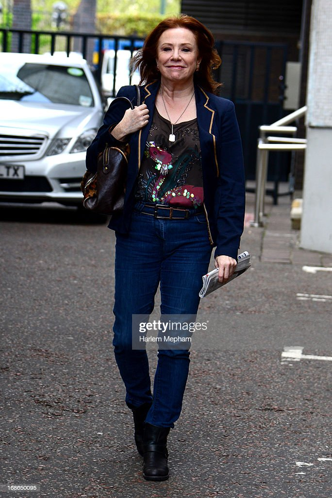 Actress, Melanie Hill sighted leaving ITV studios on May 13, 2013 in London, England.