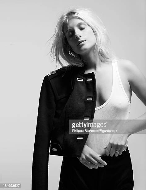 Actress Melanie Laurent is photographed for Madame Figaro on October 10 2011 in Paris France Figaro ID101927014 Jacket by Versace tank top by...