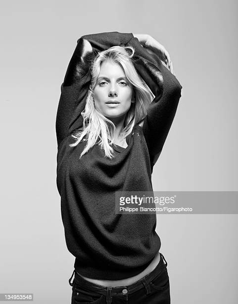 Actress Melanie Laurent is photographed for Madame Figaro on October 10 2011 in Paris France Figaro ID101927022 Sweater by Louis Vuitton jeans by...
