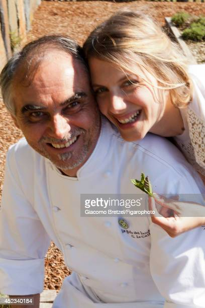 109963004 Actress Melanie Laurent is photographed with Gilles Le Gallès the chef at Jardins Sauvages the restaurant at La Grée des Landes EcoHôtelSpa...