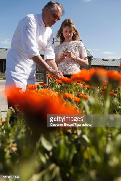 109963003 Actress Melanie Laurent is photographed with Gilles Le Gallès the chef at Jardins Sauvages the restaurant at La Grée des Landes EcoHôtelSpa...