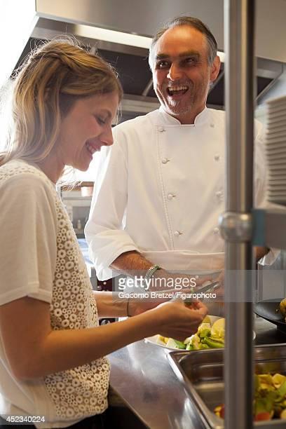 109963021 Actress Melanie Laurent is photographed with Gilles Le Gallès the chef at Jardins Sauvages the restaurant at La Grée des Landes EcoHôtelSpa...