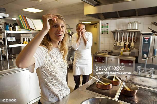 109963006 Actress Melanie Laurent is photographed with Gilles Le Gallès the chef at Jardins Sauvages the restaurant at La Grée des Landes EcoHôtelSpa...