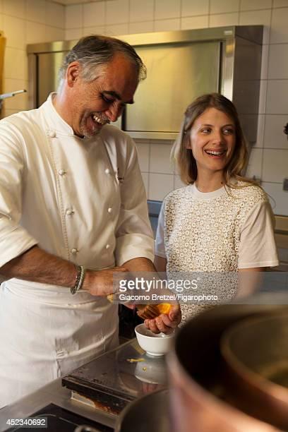 109963020 Actress Melanie Laurent is photographed with Gilles Le Gallès the chef at Jardins Sauvages the restaurant at La Grée des Landes EcoHôtelSpa...