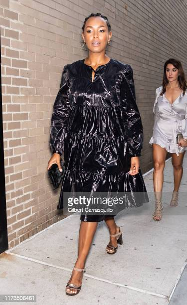 Actress Melanie Liburd is seen arriving to Anna Sui fashion show during New York Fashion Week: The Shows at Gallery I at Spring Studios on September...