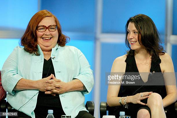 "Actress Melanie Lynskey and actress Conchata Ferrell attend the panel discussion for "" Two And A Half Men"" during the CBS 2005 Television Critics..."