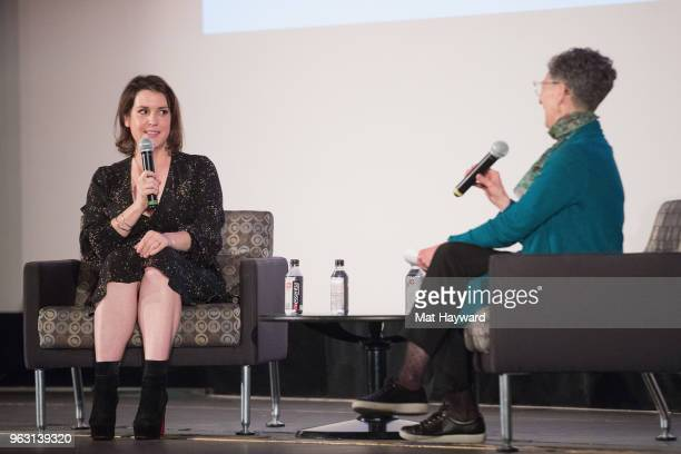 Actress Melanie Lynskey and KUOW Senior Reporter Marcie Spillman speak on stage during an afternoon with Melanie Lynskey featuring a screening of the...