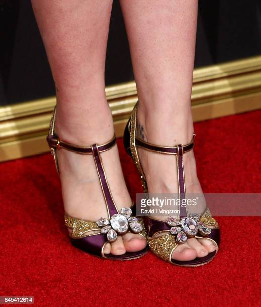Actress Melanie Lynskey shoe detail attends the 2017 Creative Arts Emmy Awards at Microsoft Theater on September 10 2017 in Los Angeles California