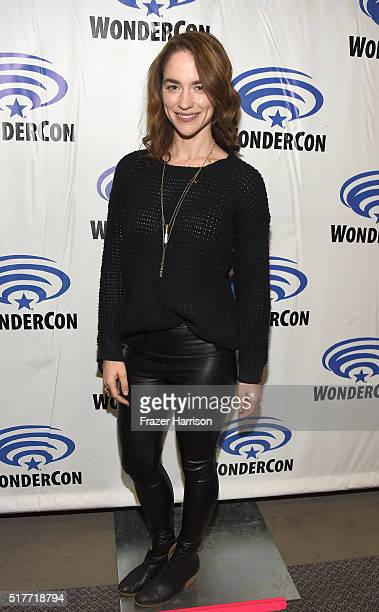 Actress Melanie Scrofano attends the Wynonna Earp panel at WonderCon 2016 Day 2 at Los Angeles Convention Center on March 26 2016 in Los Angeles...