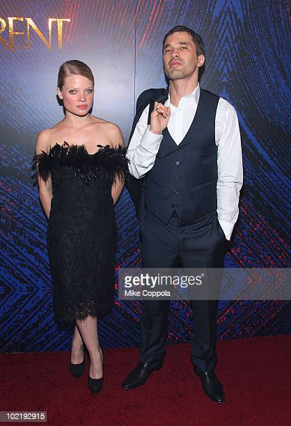 Actress Melanie Thierry and Olivier Martinez attend the YSL Belle D'Opium fragrance launch at The YSL Stage on June 17, 2010 in New York City.