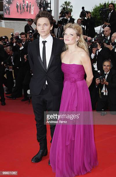 Actress Melanie Thierry and Raphael attend The Princess Of Montpensier Premiere at the Palais des Festivals during the 63rd Annual Cannes Film...