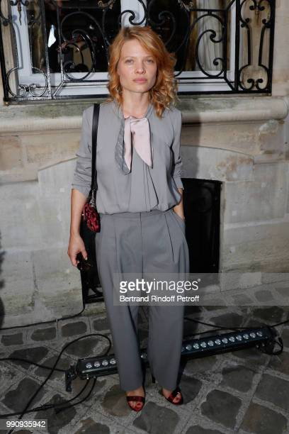 Actress Melanie Thierry attends the Giorgio Armani Prive Haute Couture Fall Winter 2018/2019 show as part of Paris Fashion Week on July 3 2018 in...