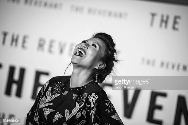 """Actress Melaw Nakehk'o attends the premiere of 20th Century Fox's """"The Revenant"""" at TCL Chinese Theatre on December 16, 2015 in Hollywood, California."""