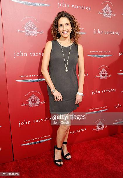 Actress Melina Kanakaredes attends the John Varvatos 13th Annual Stuart House benefit presented by Chrysler with Kids' Tent by Hasbro Studios at John...